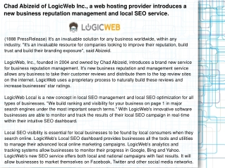 Chad Abizeid of LogicWeb Inc., a web hosting provider introd