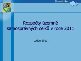 Rozpocty  zemne samospr vn ch celku v roce 2011