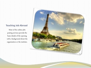 Teaching Job Abroad