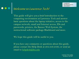 Welcome to Lawrence Tech