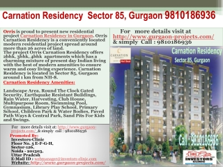 carnation residency  sector 85, gurgaon | 9810186936