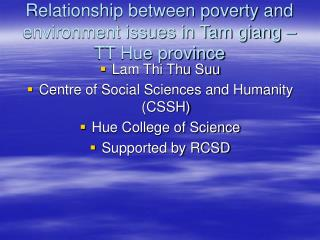 Relationship between poverty and environment issues in Tam giang  TT Hue province
