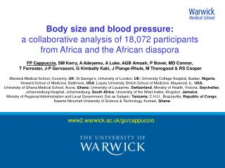 Body size and blood pressure:  a collaborative analysis of 18,072 participants  from Africa and the African diaspora