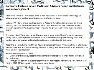Corcentric Featured in New PayStream Advisors Report