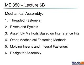 ME 350   Lecture 6B