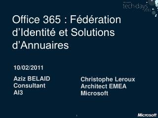 Office 365 : F d ration d Identit  et Solutions d Annuaires