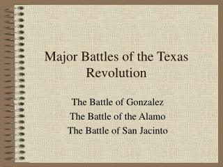 Major Battles of the Texas Revolution