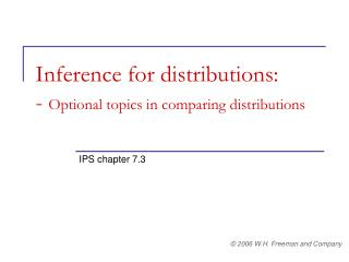 Inference for distributions: - Optional topics in comparing distributions