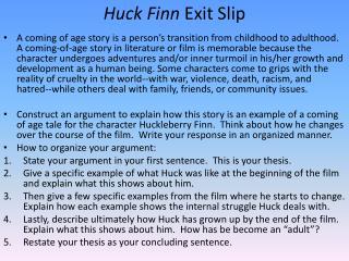 Huck Finn Exit Slip