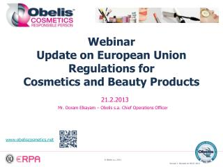 Webinar Update on European Union Regulations for  Cosmetics and Beauty Products
