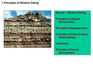 Review   Relative Dating   Principle of Original Horizontality  Principle of Superposition  Principle of Cross-Cutting R