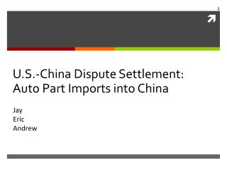 U.S.-China Dispute Settlement: Auto Part Imports into China