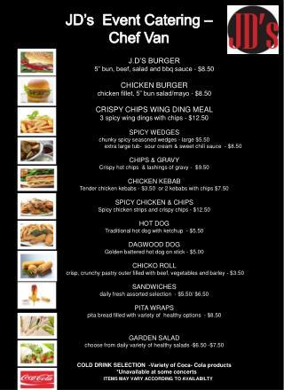 JD s  Event Catering   Chef Van