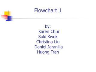 Flowchart 1   by:  Karen Chui Suki Kwok Christina Liu  Daniel Jaranilla Huong Tran