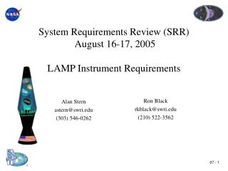 System Requirements Review SRR  August 16-17, 2005   LAMP Instrument Requirements