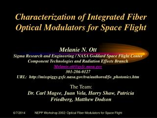 NEPP Workshop 2002: Optical Fiber Modulators for Space Flight