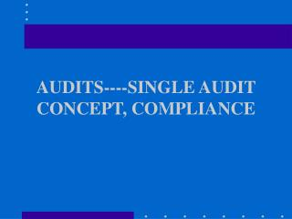 AUDITS----SINGLE AUDIT CONCEPT, COMPLIANCE