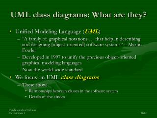 UML class diagrams: What are they