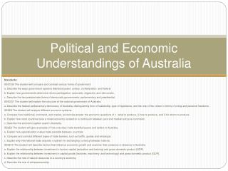 Political and Economic Understandings of Australia