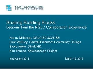 Nancy Millichap, NGLC