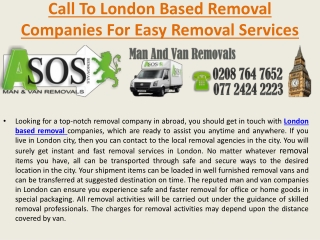 call to London Based Removal Companies