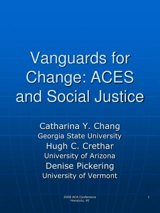vanguards for change: aces and social justice