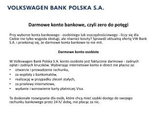 Darmowe konta bankowe vwbank