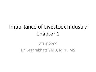 Importance of Livestock Industry Chapter 1