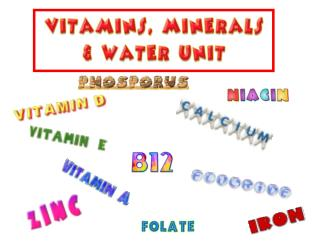 Intro to Vitamins, Minerals  Water