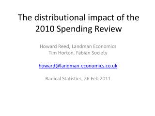 The distributional impact of the 2010 Spending Review