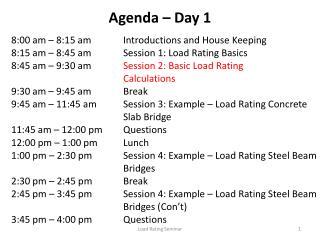 Agenda   Day 1