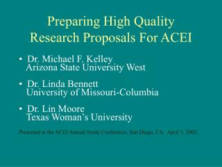 preparing high quality  research proposals for acei