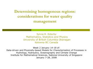 Determining homogenous regions: considerations for water quality management