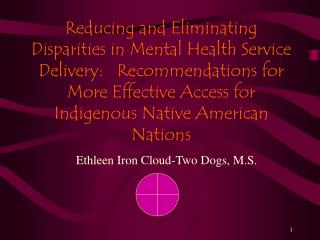 Reducing and Eliminating Disparities in Mental Health Service Delivery:   Recommendations for More Effective Access for