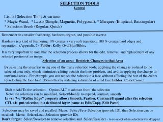 SELECTION TOOLS General
