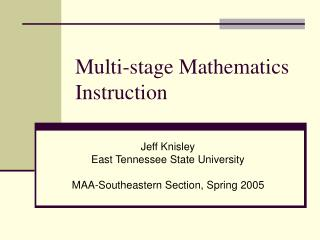 multi-stage mathematics instruction