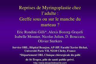 Reprises de Myringoplastie chez l adulte : Greffe sous ou sur le manche du marteau