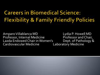 Careers in Biomedical Science: Flexibility  Family Friendly Policies