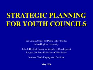 STRATEGIC PLANNING FOR YOUTH COUNCILS