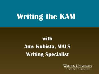 Writing the KAM