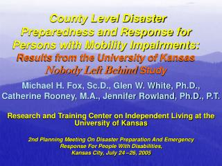 County Level Disaster Preparedness and Response for Persons with Mobility Impairments: Results from the University of Ka