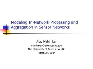 Modeling In-Network Processing and Aggregation in Sensor Networks