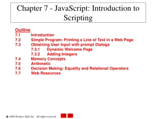 Chapter 7 - JavaScript: Introduction to Scripting