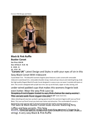 Corsets UK Design and Styles