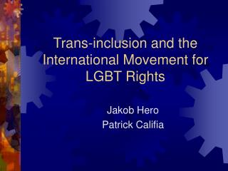Trans-inclusion and the International Movement for LGBT ...
