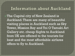 Auckland flights and Travel guide