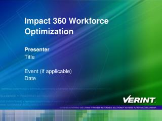 Impact 360 Workforce Optimization  Presenter  Title  Event if applicable Date