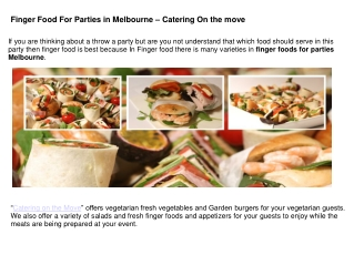 Finger Food For Parties in Melbourne