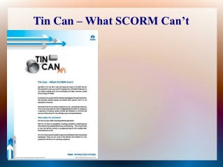 Tin Can – What SCORM Can't