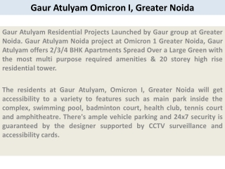 Gaur Atulyam Noida  91 9873111181 Gaur Atulyam Greater Noida